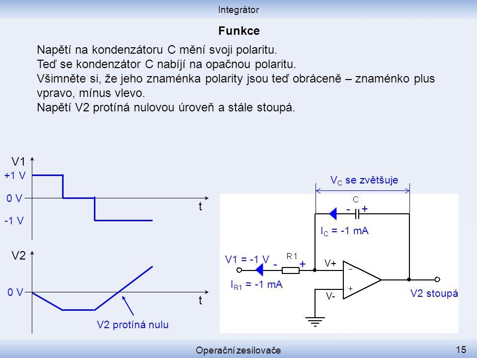 Napětí na kondenzátoru C mění svoji polaritu.