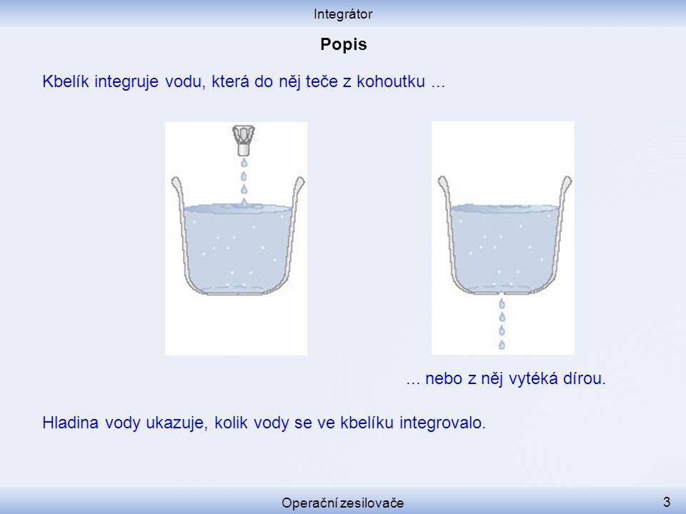Kbelík integruje vodu, která do něj teče z kohoutku ...