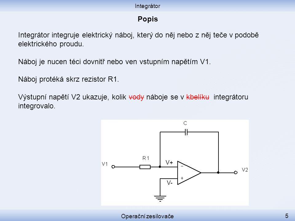 Náboj je nucen téci dovnitř nebo ven vstupním napětím V1.