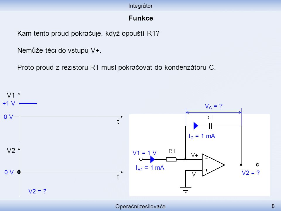 Kam tento proud pokračuje, když opouští R1 Nemůže téci do vstupu V+.