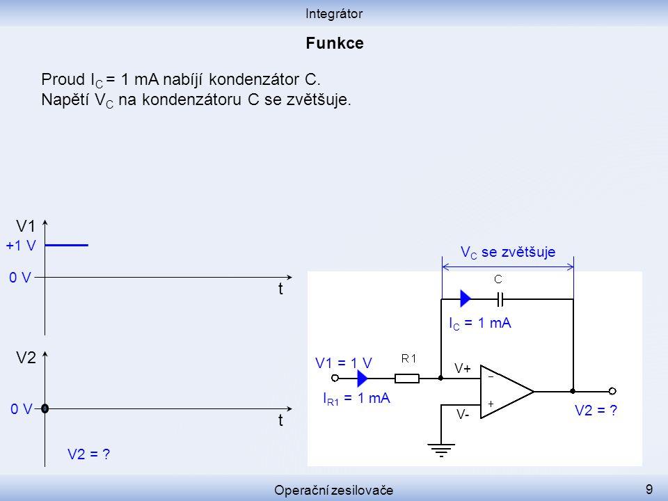 Proud IC = 1 mA nabíjí kondenzátor C.