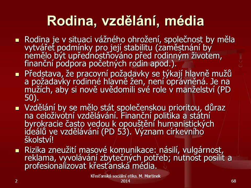 Křesťanská sociální etika. M. Martinek 2014
