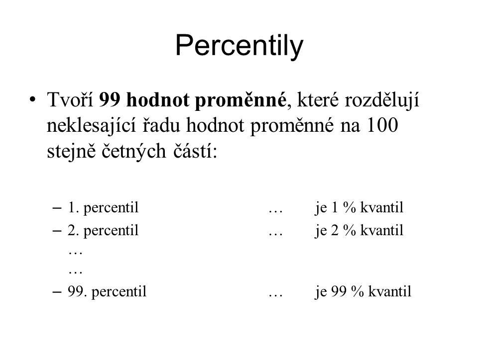 Percentily Tvoří 99 hodnot proměnné, které rozdělují neklesající řadu hodnot proměnné na 100 stejně četných částí: