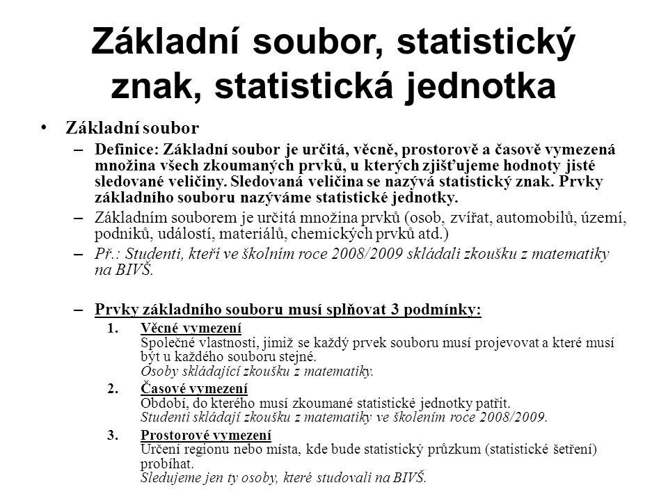 Základní soubor, statistický znak, statistická jednotka