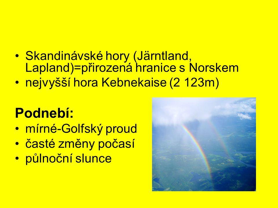 Skandinávské hory (Järntland, Lapland)=přirozená hranice s Norskem