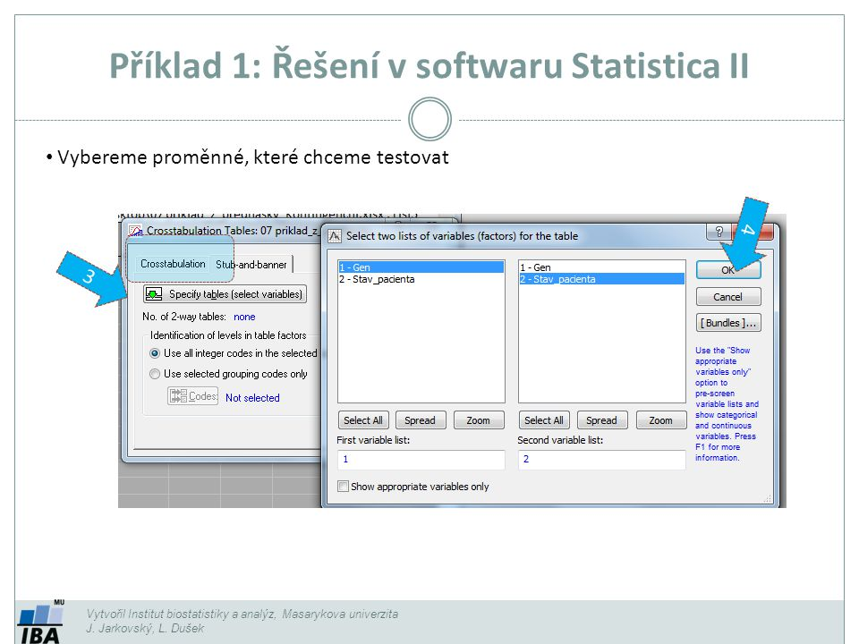 Příklad 1: Řešení v softwaru Statistica II