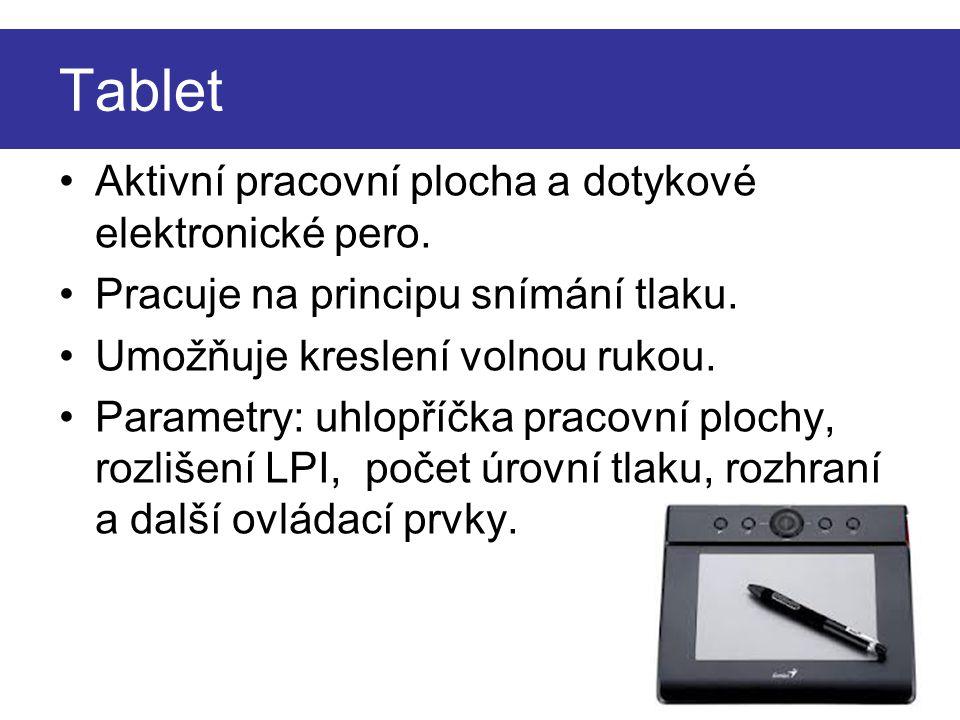 Tablet Aktivní pracovní plocha a dotykové elektronické pero.