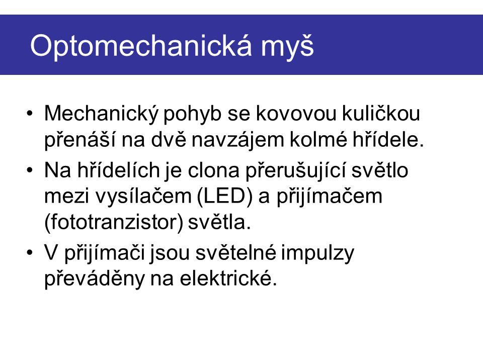 Optomechanická myš Mechanický pohyb se kovovou kuličkou přenáší na dvě navzájem kolmé hřídele.