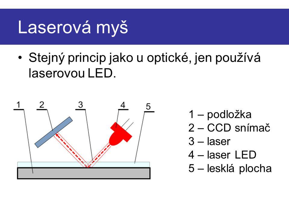 Laserová myš Stejný princip jako u optické, jen používá laserovou LED.