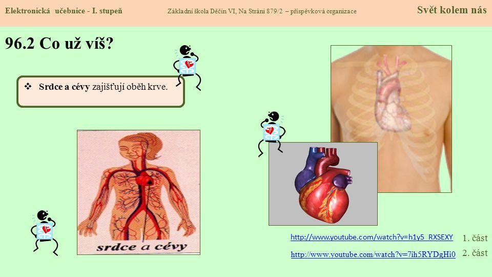 96.2 Co už víš Srdce a cévy zajišťují oběh krve. 1. část 2. část