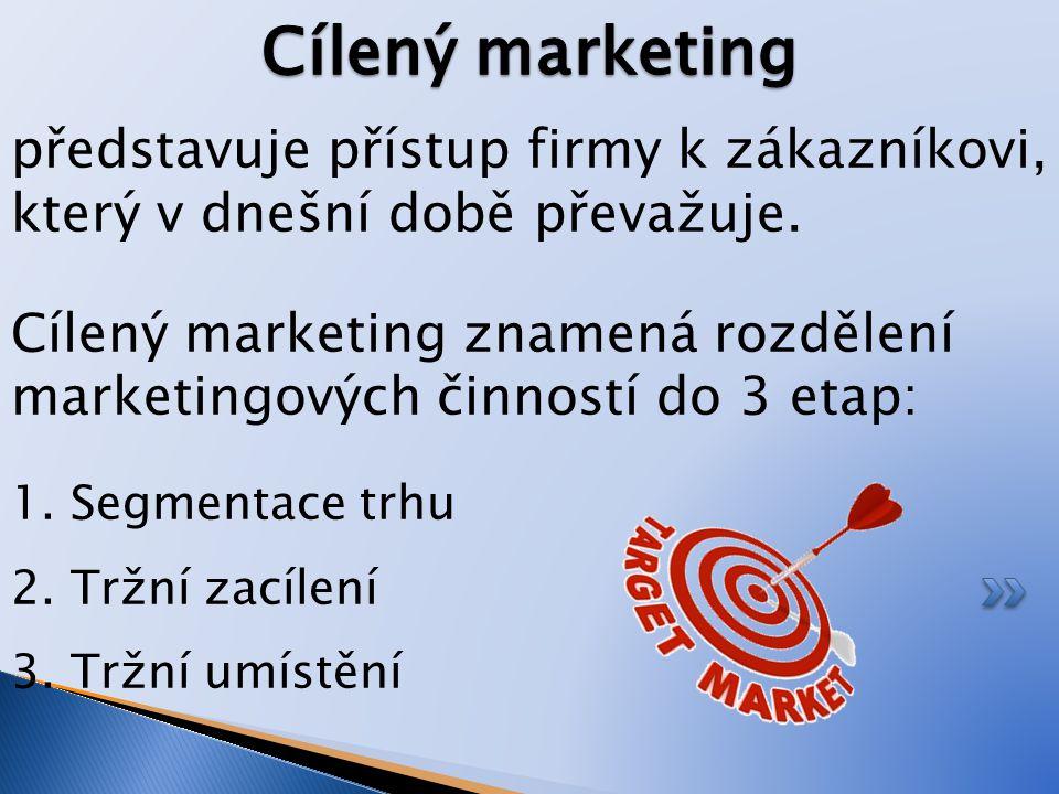 Cílený marketing představuje přístup firmy k zákazníkovi, který v dnešní době převažuje.
