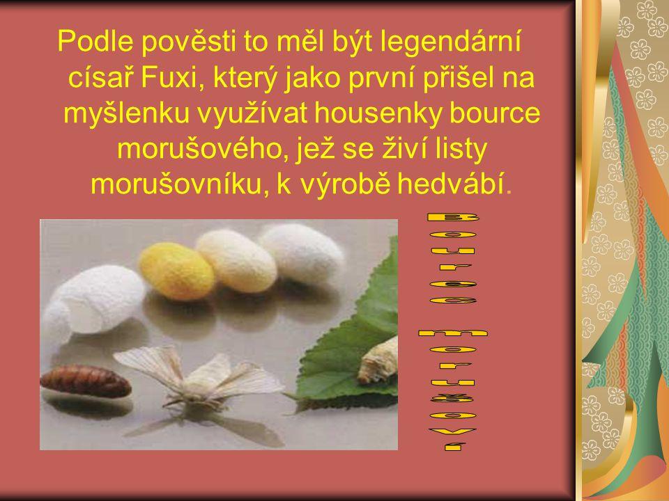 Podle pověsti to měl být legendární císař Fuxi, který jako první přišel na myšlenku využívat housenky bource morušového, jež se živí listy morušovníku, k výrobě hedvábí.