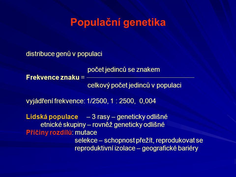 Populační genetika distribuce genů v populaci počet jedinců se znakem