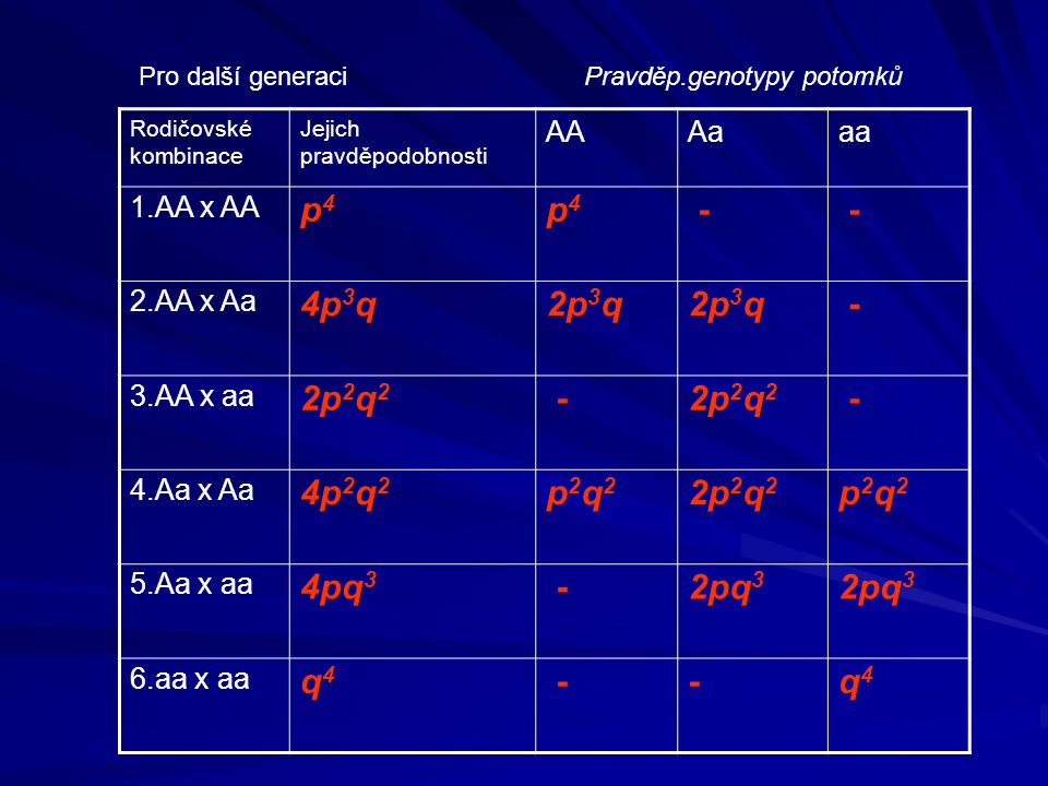 p4 - 4p3q 2p3q 2p2q2 4p2q2 p2q2 4pq3 2pq3 q4 AA Aa aa 1.AA x AA