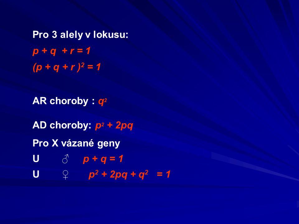 Pro 3 alely v lokusu: p + q + r = 1. (p + q + r )2 = 1. AR choroby : q2. AD choroby: p2 + 2pq. Pro X vázané geny.