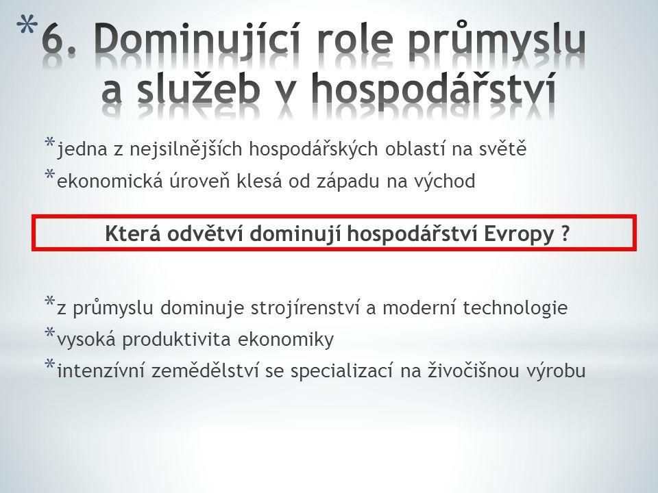 6. Dominující role průmyslu a služeb v hospodářství