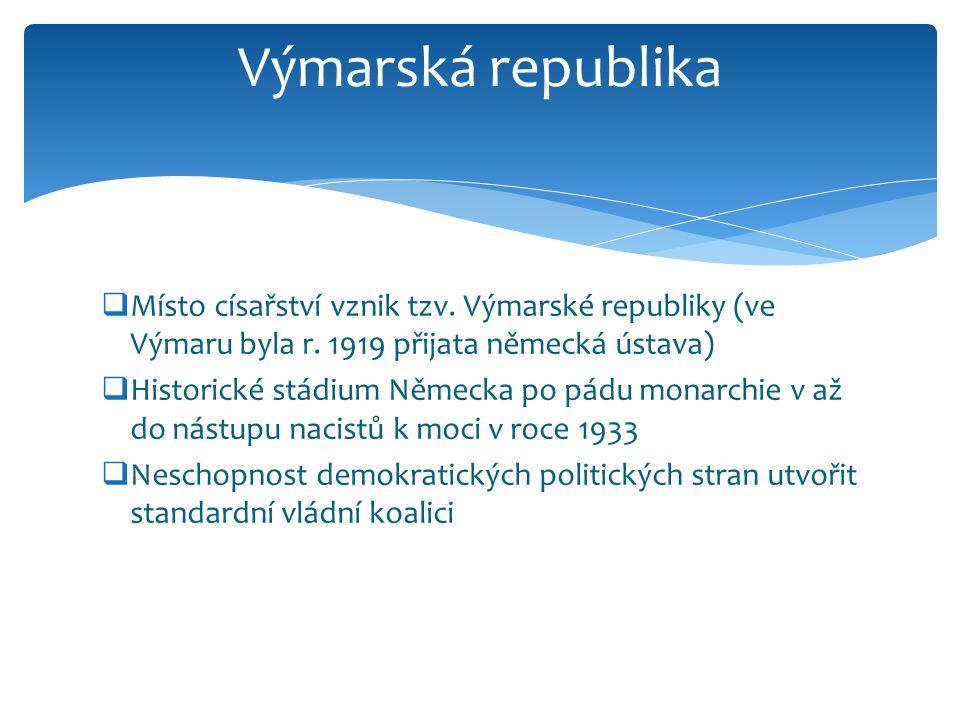 Výmarská republika Místo císařství vznik tzv. Výmarské republiky (ve Výmaru byla r. 1919 přijata německá ústava)