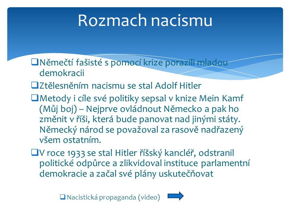 Rozmach nacismu Němečtí fašisté s pomocí krize porazili mladou demokracii. Ztělesněním nacismu se stal Adolf Hitler.