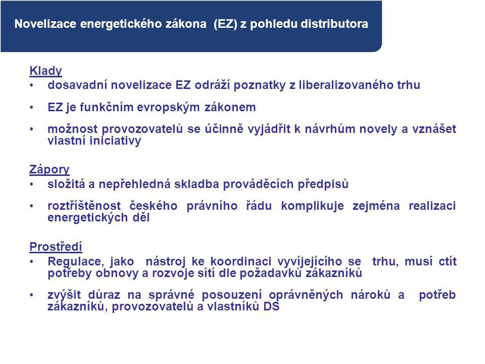 Novelizace energetického zákona (EZ) z pohledu distributora