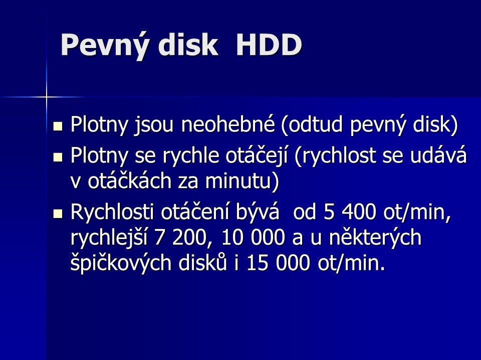 Pevný disk HDD Plotny jsou neohebné (odtud pevný disk)