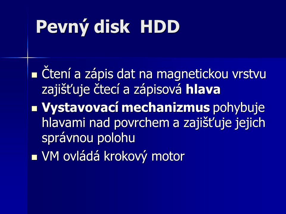 Pevný disk HDD Čtení a zápis dat na magnetickou vrstvu zajišťuje čtecí a zápisová hlava.