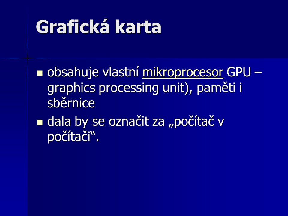 Grafická karta obsahuje vlastní mikroprocesor GPU – graphics processing unit), paměti i sběrnice.