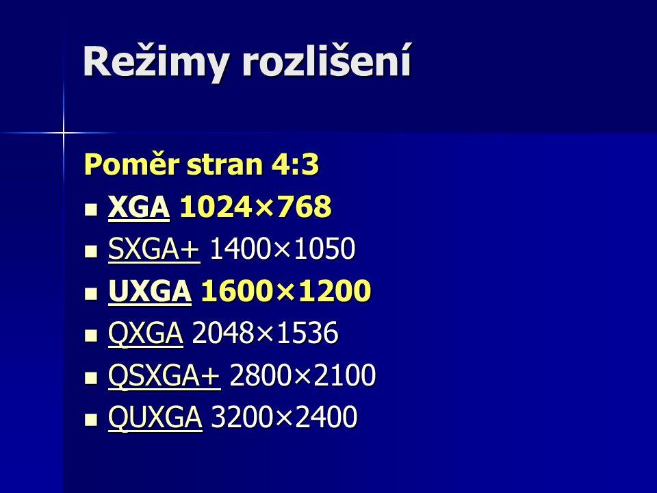 Režimy rozlišení Poměr stran 4:3 XGA 1024×768 SXGA+ 1400×1050