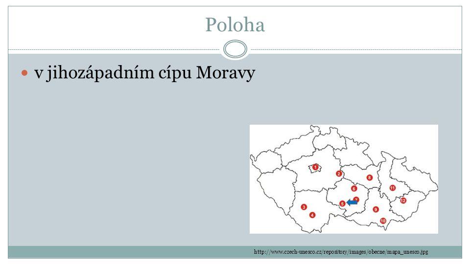Poloha v jihozápadním cípu Moravy
