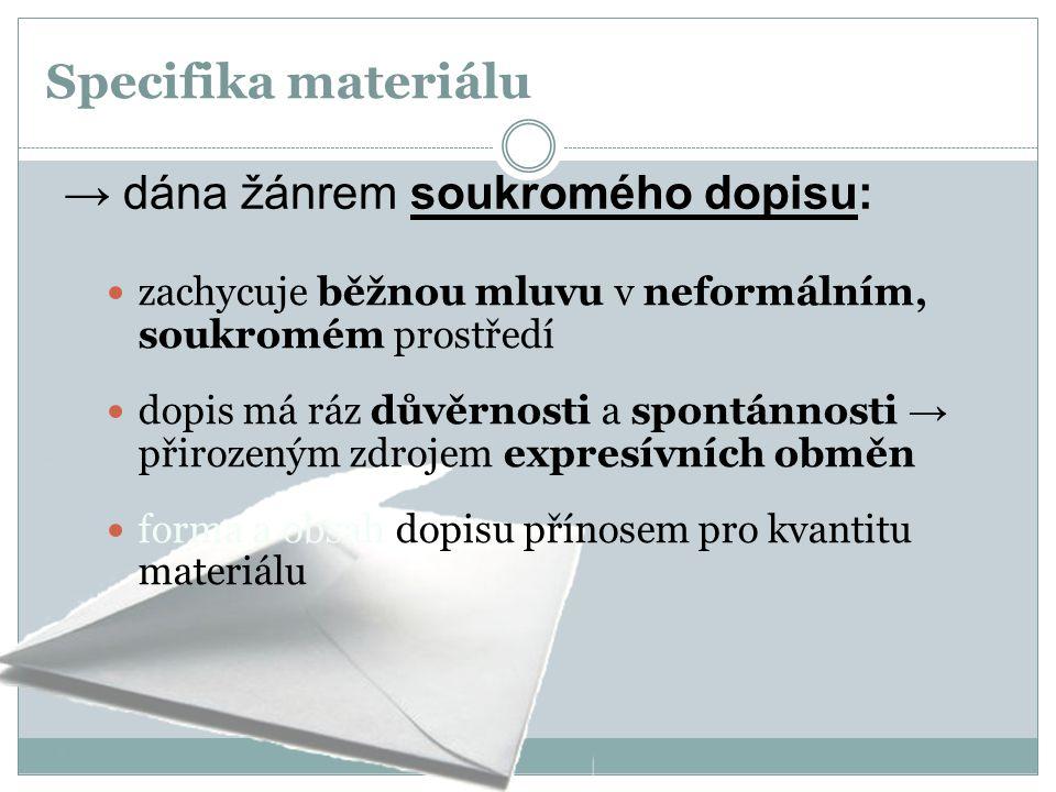 Specifika materiálu → dána žánrem soukromého dopisu: