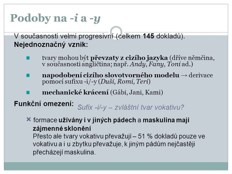 Podoby na -i a -y V současnosti velmi progresivní (celkem 145 dokladů). Nejednoznačný vznik: