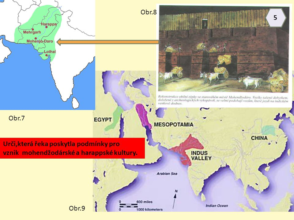Obr.8 5. Obr.7. Urči,která řeka poskytla podmínky pro. vznik mohendžodárské a harappské kultury.