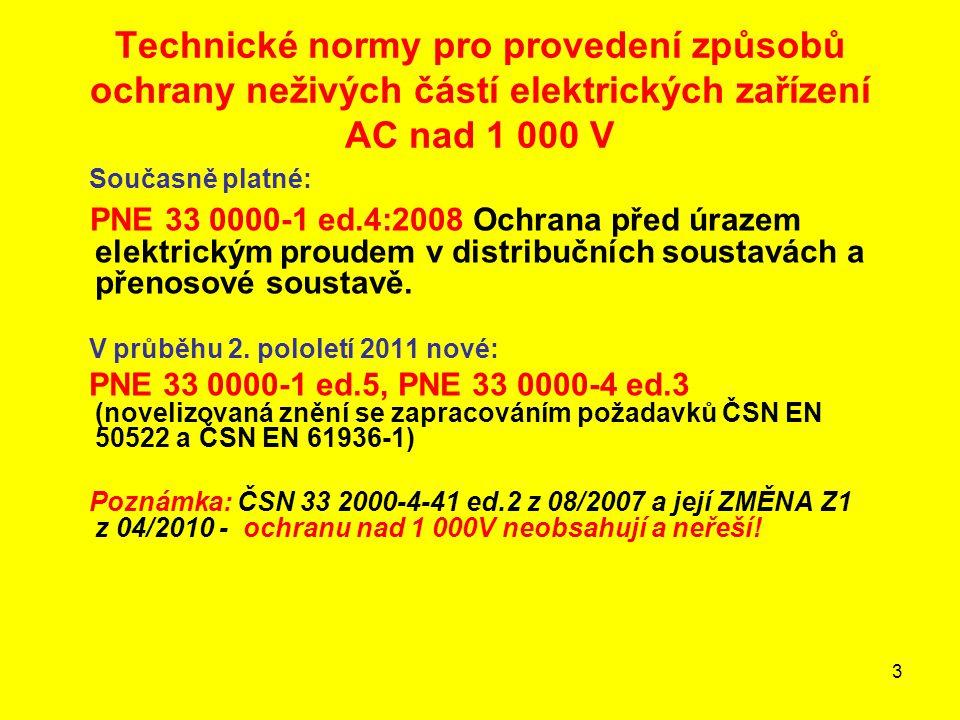 Technické normy pro provedení způsobů ochrany neživých částí elektrických zařízení AC nad 1 000 V