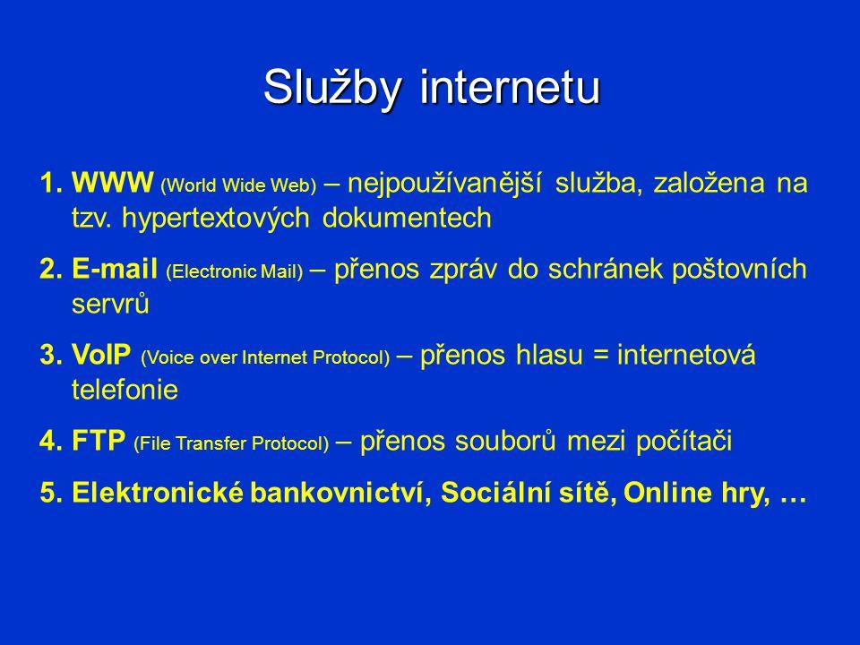 Služby internetu WWW (World Wide Web) – nejpoužívanější služba, založena na tzv. hypertextových dokumentech.