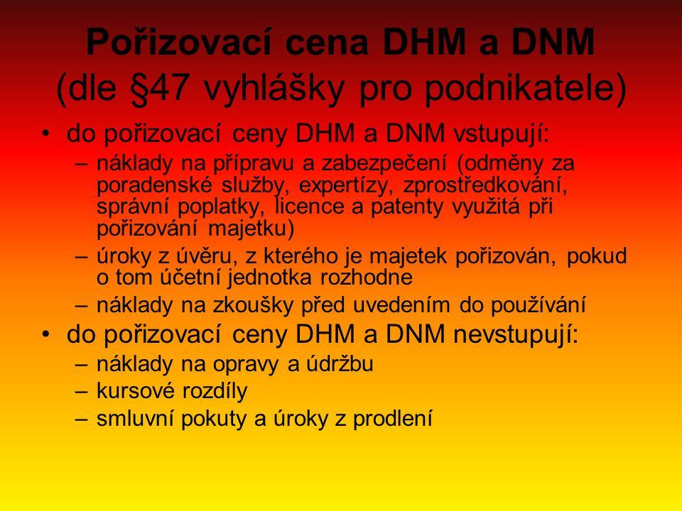 Pořizovací cena DHM a DNM (dle §47 vyhlášky pro podnikatele)