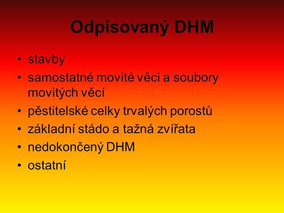 Odpisovaný DHM stavby samostatné movité věci a soubory movitých věcí