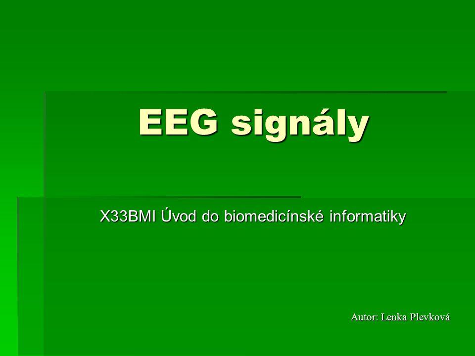 X33BMI Úvod do biomedicínské informatiky Autor: Lenka Plevková