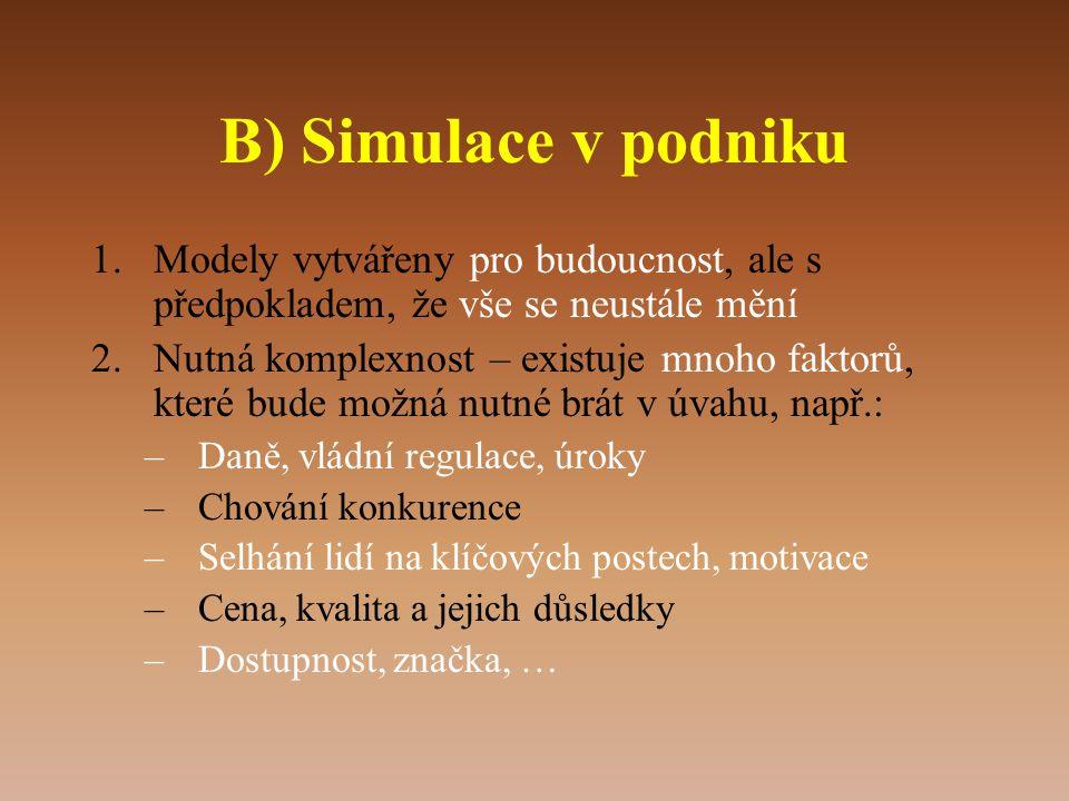 B) Simulace v podniku Modely vytvářeny pro budoucnost, ale s předpokladem, že vše se neustále mění.