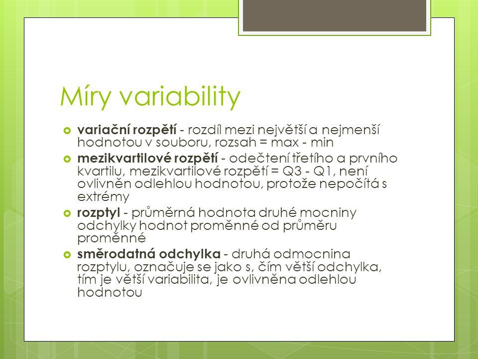 Míry variability variační rozpětí - rozdíl mezi největší a nejmenší hodnotou v souboru, rozsah = max - min.