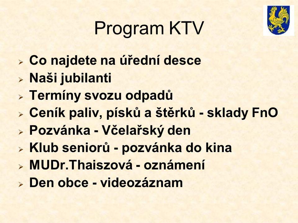 Program KTV Co najdete na úřední desce Naši jubilanti