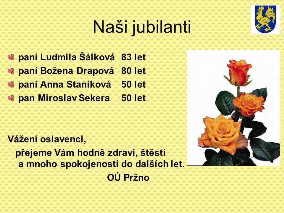 Naši jubilanti paní Ludmila Šálková 83 let paní Božena Drapová 80 let