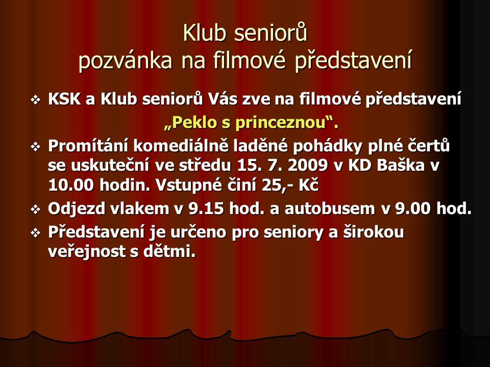 Klub seniorů pozvánka na filmové představení