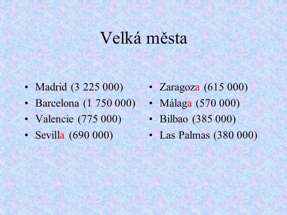 Velká města Madrid (3 225 000) Barcelona (1 750 000)
