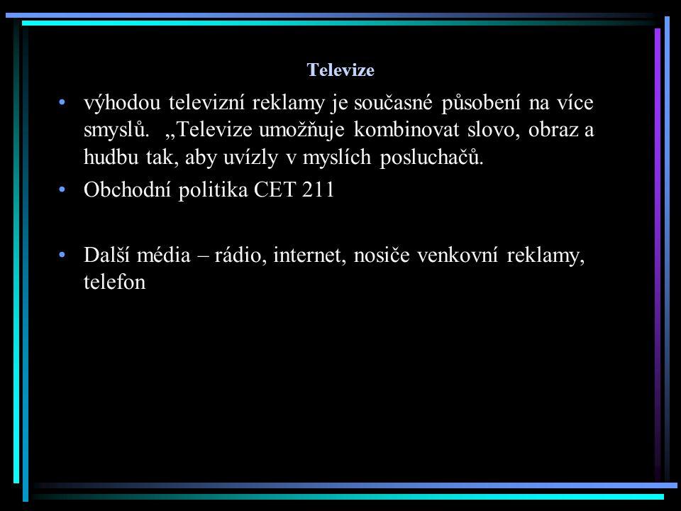 Další média – rádio, internet, nosiče venkovní reklamy, telefon