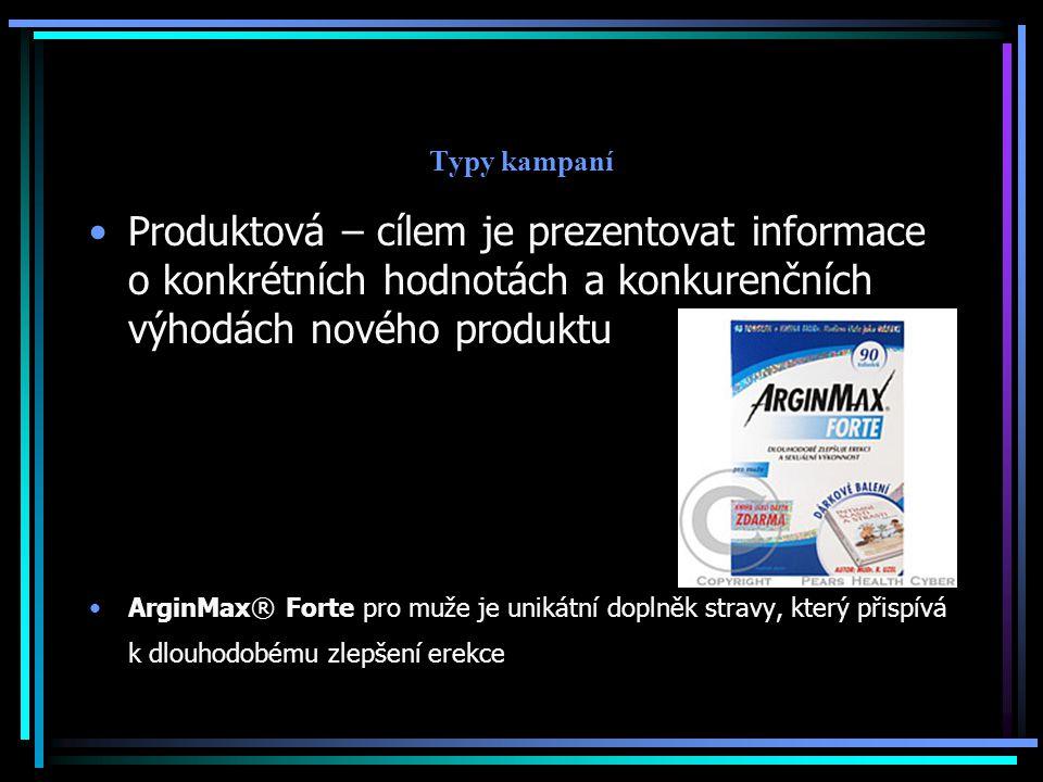 Typy kampaní Produktová – cílem je prezentovat informace o konkrétních hodnotách a konkurenčních výhodách nového produktu.