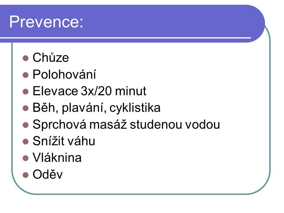 Prevence: Chůze Polohování Elevace 3x/20 minut
