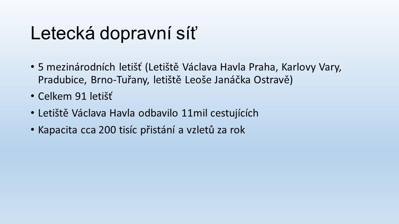 Letecká dopravní síť 5 mezinárodních letišť (Letiště Václava Havla Praha, Karlovy Vary, Pradubice, Brno-Tuřany, letiště Leoše Janáčka Ostravě)