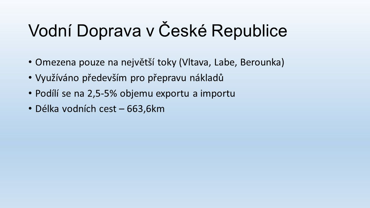 Vodní Doprava v České Republice