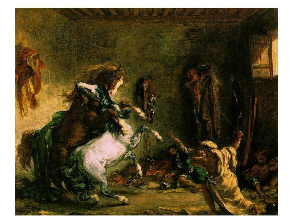 Arabští koně zápasící ve stáji