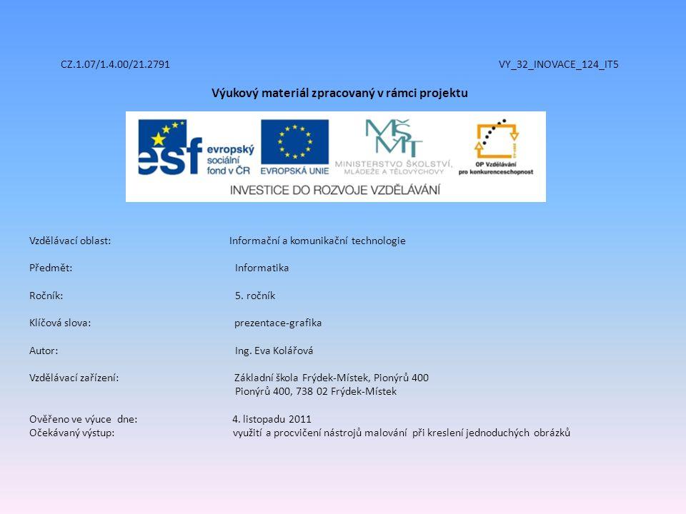 CZ.1.07/1.4.00/21.2791 VY_32_INOVACE_124_IT5 Výukový materiál zpracovaný v rámci projektu