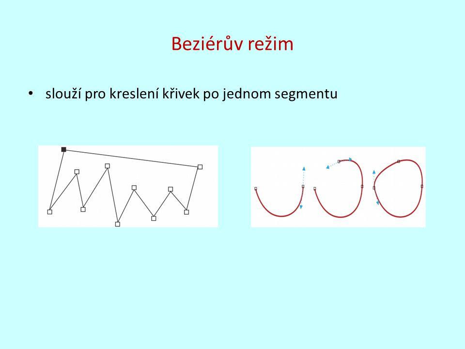 Beziérův režim slouží pro kreslení křivek po jednom segmentu